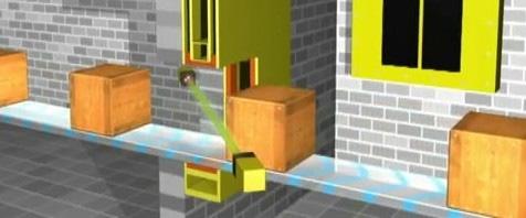 barriera tagliafuoco per nastri trasportatori con sensore a laser